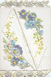 GOOD WISHES (partly hidden by folded left flap) blue & purple pansies & ginkgo leaves, trellis design above & below