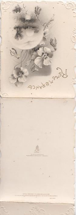 REMEMBRANCE in gilt at top of top flap, study in grey & white of pansies above watery rural inset, marginal white design