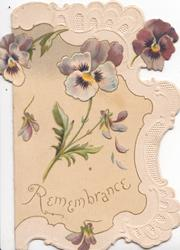 REMEMBRANCE in gilt  on yellow inset below multicolour pansies, white perforated marginal design