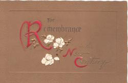 REMEMBRANCE IN THE NEW CENTURY stylised white pansies in  design, brown background