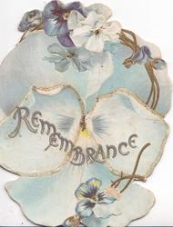 REMEMBRANCE in gilt on blue pansy filling whole front, more blue pansies around