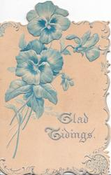 GLAD TIDINGS in blue,  pansies & marginal design also in blue