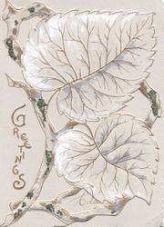 GREETINGS in gilt at left, 2 leaves in front of glittered twigs fill front of pale violet card