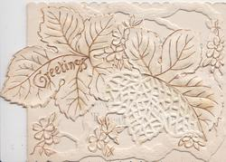 GREETINGS in gilt left, 2 white leaves & many white stylised flowers heavily perforated gilt design