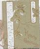 HEARTY GREETINGS in gilt at base, gilt bordered leaves on twigs, white vertical design, green card