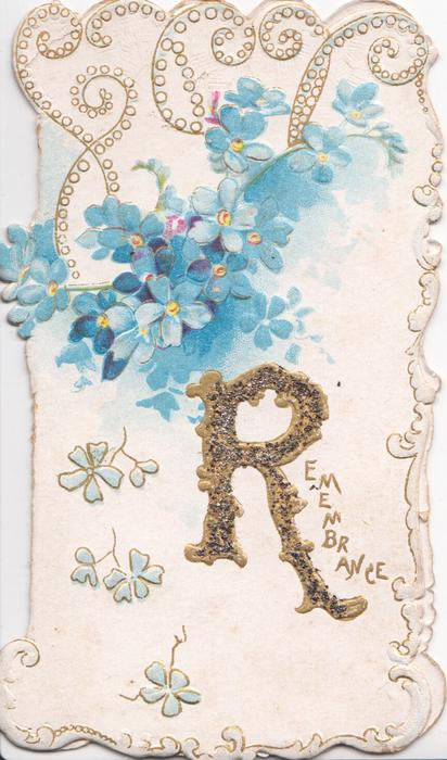 REMEMBRANCE( R illuminated & glittered) below, forget-me-nots above,marginal design