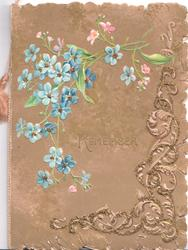 TO REMEMBER in gilt centrally, forget-me-nots above left glittered design below right