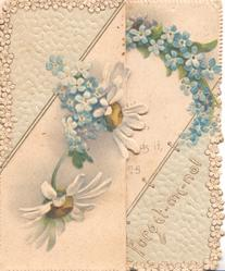 FORGET-ME-NOTS diagonally across front front, lilies-of-the-valley & forget-me-nots above & below, perforated marginal design