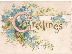 GREETINGS(G illuminated  & glittered) in gilt centrally, on bottom flap, forget-me-nots & ivy behind