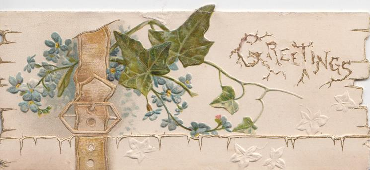 GREETINGS( illuminated) in gilt upper right, forget-me-nots & ivy left in belt & buckle design