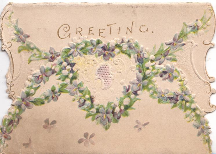 GREETING above forget-me-not design on both flaps
