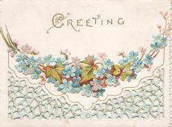 GREETING above forget-me-not design on top flap, perforated lattice design on bottom flap