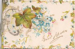GOOD WISHES below complex perforated design of  forget-me-nots & ivy, floral marginal design