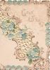 GOOD WISHES in gilt upper right, forget-me-nots in perforated white diagonal design & on margins below right