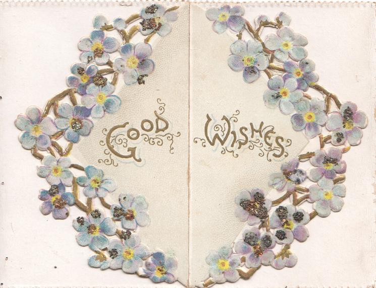 GOOD WISHES across front flaps, circlet of glittered forget-me-nots round title