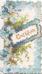GOOD WISHES on glittered white plaque, many forget-me-nots & some fern around  & marginal forget-me-not design