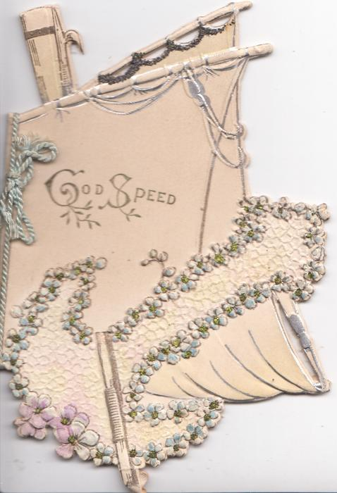 GOD SPEED in siver on sail of boat, forget-me-not bordered anchor, elaborate design