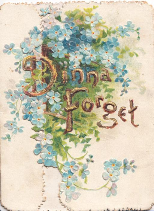 DINNA FORGET in gilt centrally, forget-me-nots around & with ginkgo leaves on right flap