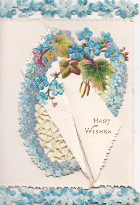 BEST WISHES on white plaque surrounded by heart shaped design of forget-me-nots & ivy, top & bottom marginal design of forget-me-nots
