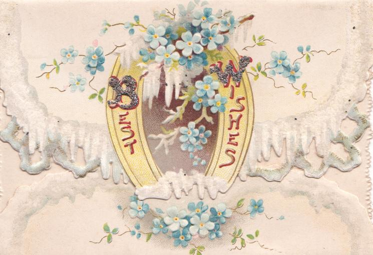 BEST WISHES (B & W illuminated & glittered) on yellow horseshoe, forget-me-nots above & below