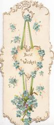 BEST WISHES on heart shaped white plaque surrounded by design of forget-me-nots as decoration hanging by ribbon