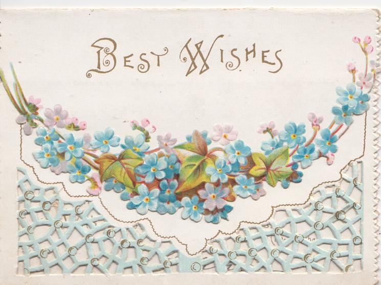 BEST WISHES in gilt,  forget-me-nots  & ivy at base of top flap, perforated blue lattice design below