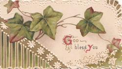 GOD BLESS YOU below ivy leaves, white & olive floral leafy marginal design