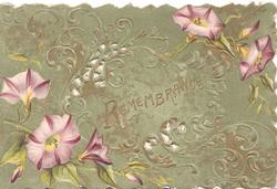 REMEMBRANCE in gilt centrally, purple anemones & complex design around,deep green background