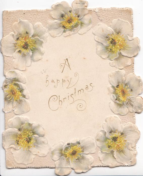 A HAPPY CHRISTMAS in gilt on central plaque, white anemones with yellow centres as marginal circular design