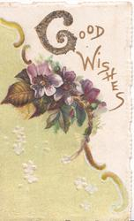 GOOD WISHES(G glittered & illuminated) in gilt above right, purple anemones & yellow-green design left