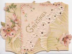 GREETINGS in gilt on triangular plaque on right flap,glittered pink anemones around, white diagonal design