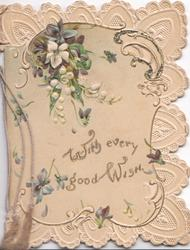 WITH EVERY GOOD WISH in gilt below on cream background, blue & white anemones above, elaborate marginal perforated design