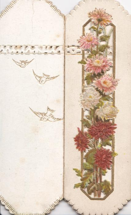 no front title, red, white & pink chrysanthemums before vertical perforated slot,  embossed