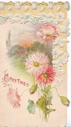 GREETINGS in red pink & red asters verticaly in front of rural inset, stylised floral design top & right