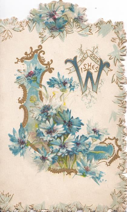 ALL GOOD WISHES (W illuminated & glittered)  in gilt at top right, blue cornflowers in glittered scene