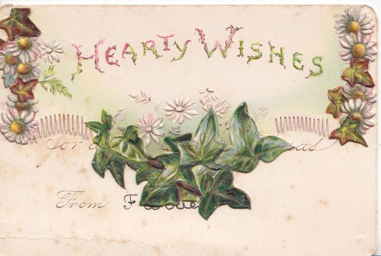 HEARTY WISHES above ivy leaves & stylised daisies. marginal daisy design on top flap