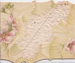 GREETINGS in gilt hidden on right flap, pink anemones around diagonal white stylised floral design