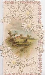 GOOD WISHES, white daisies with yellow centres, marginal design of stylised flowers rural inset