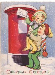 CHRISTMAS GREETINGS boy holds girl up to mailbox, letter reads TO FATHER CHRISTMAS, snow