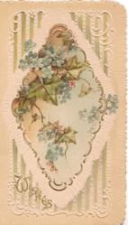 WISHES, forget-me-nots & ivy in central gilt bordered inset, green & white design, cream backfground