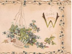 GOOD WISHES(W illuminated) in gilt, perforated basket of forget-me-nots & ivy left, perforated marginal lattice design