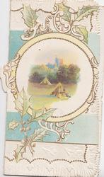 no front title, gilt & white complex design intertwined with stylised holly, circular harvest rural inset