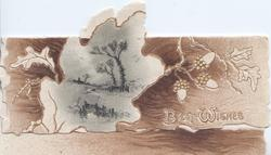 BEST WISHES in white below oak leaf & acorns in white design, wintry rural inset in irregular gilt frame