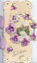 GOD BLESS YOU in gilt below purple & white pansies in circlet design round church & houses in rural inset