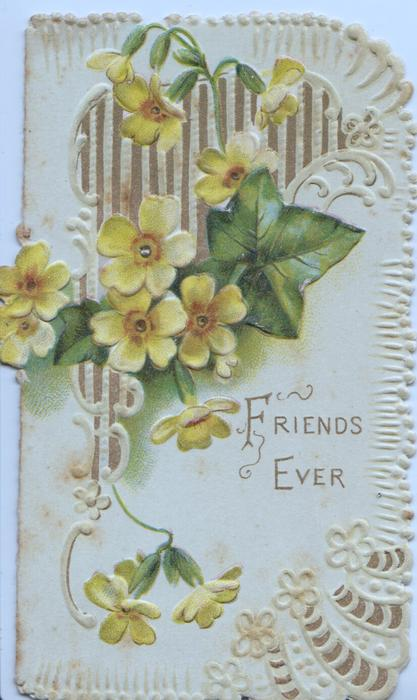 FRIENDS EVER in gilt on pale green background below yellow primroses & ivy leaf in front of lattice design