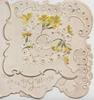 HEARTY GREETINGS on folded front, yellow primroses & white complex perforated design around