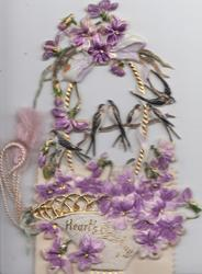 HEARTS GREETING, celluloid design of violets in basket, 4 birds perch, much perforated NOVELTY