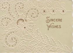 SINCERE  WISHES in gilt right, large stylised fern design in white, glittered pale olive-green background