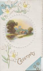 GREETINGS in gilt below right, stylised white flowers left, circular rural inset , 2 blue corner designs