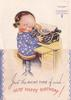JUST THE RIGHT TYPE OF WISH- VERY HAPPY BIRTHDAY! young girl at typewriter looks over right shoulder